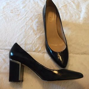 Talbots leather black heel with silver on heel